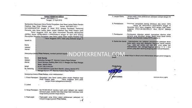 Surat Perjanjian Kerja Sewa Laptop Jakarta